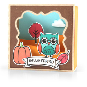 shadow box card scene - fall owl