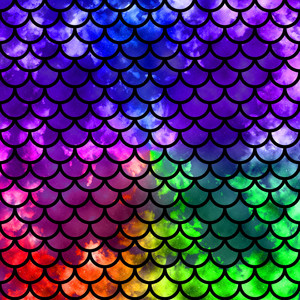 mermaid scales black and colors pattern