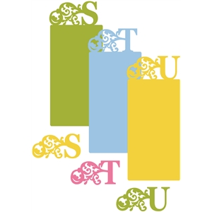 flourish monograms & cards - s,t,u