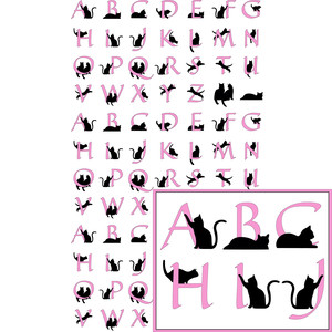 kitty cat pink alphabet planner stickers