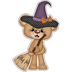halloween bear witch with broom sticker / die cut