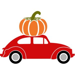 old car and big pumpkin