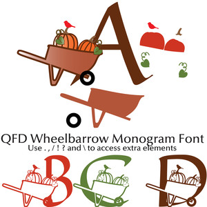 qfd wheelbarrow monogram font