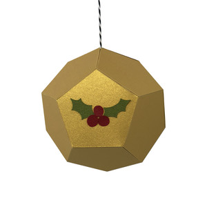 holly & berries hexagon ornament