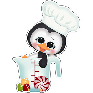 baking for santa penguin in measuring cup sticker / die cut