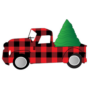 buffalo plaid truck and tree