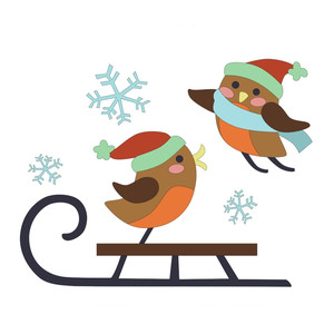 winter birds on sled