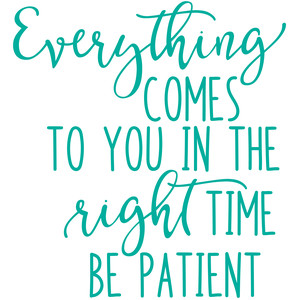 everything comes to you at the right time