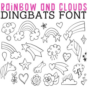 cg rainbows and clouds dingbats