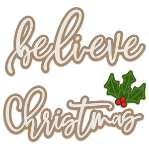 christmas - believe layered words