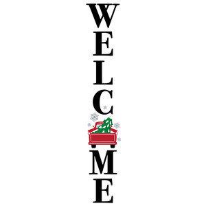 welcome red truck porch sign