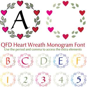 qfd heart wreath monogram font