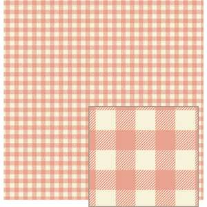 peach and cream woven plaid-look pattern