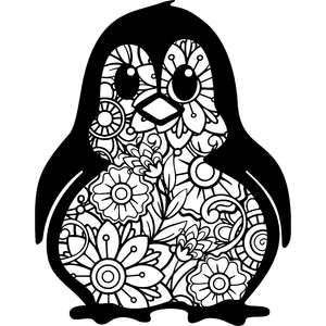 penguin mandala zentangle