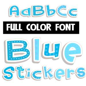 blue stickers color font