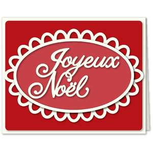 christmas joyeux card oel lace oval