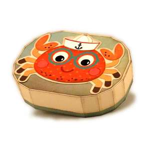 crab 3d oval gift card box