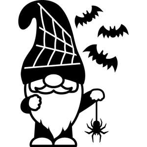 gnome with spider and bats