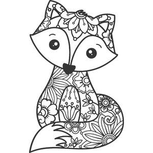 floral fox zentangle