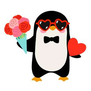valentine's day penguin with roses