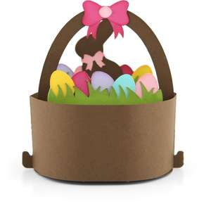round pop up card bunny basket