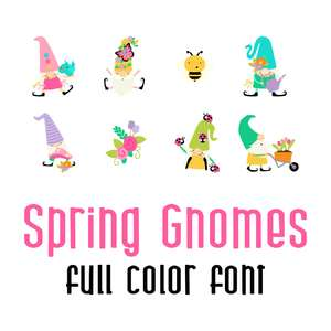 spring gnomes full color font