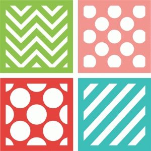 4 patterned squares