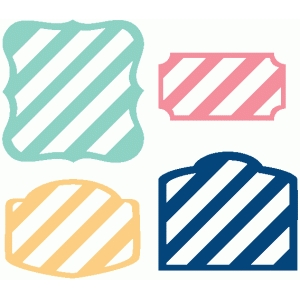 set of 4 stripe labels