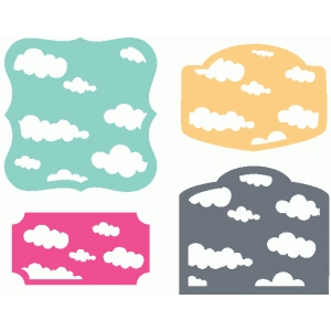 set of 4 cloud labels