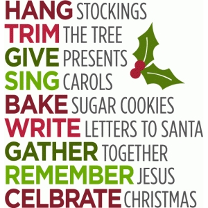block word list - christmas traditions