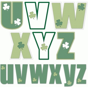 nested st. patrick's day alphabet u-z