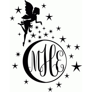 fairy and sparkling moon monogram