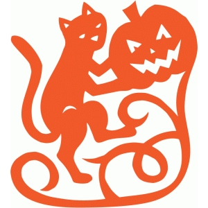 vintage style halloween cat with pumpkin