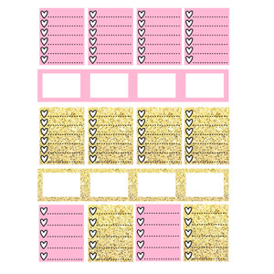 vertical planner pink & gold functional boxes