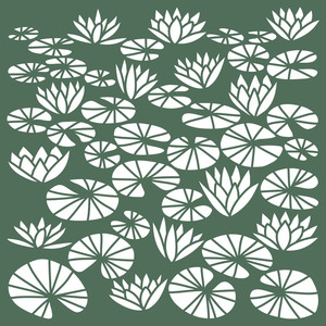 water lilies 12x12 stencil or wall art
