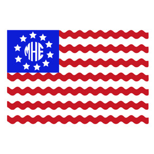 us ric rac flag monogram frame