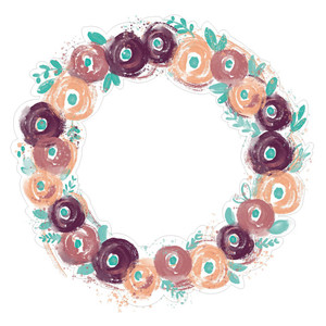 painted floral wreath rosettes