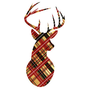 gold plaid reindeer