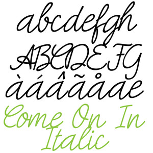 pn come on in italic