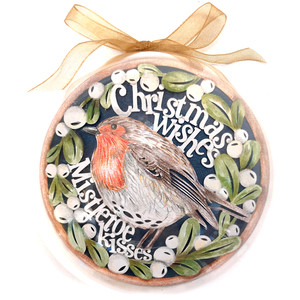 christmas wishes robin ornament