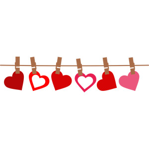 hearts on the clothesline border