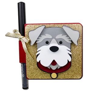 schnauzer double sticky note holder