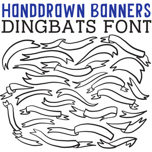cg hand drawn banners dingbats