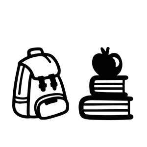 backpack, books and apple