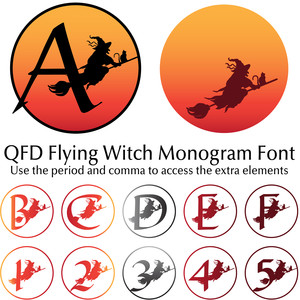 qfd flying witch monogram font