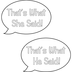 what she / he said speech bubbles
