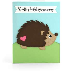 shadowbox card front flap hedgehog