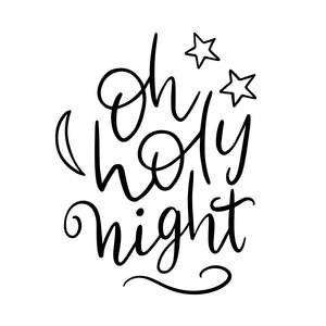 oh holy night handlettered christmas phrase