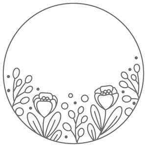 simple circle floral bottom frame
