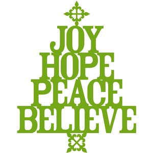 'joy hope peace believe' christmas tree